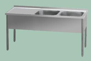 MSDOL-190x60x90/2x40x50 Stůl mycí dvoudřez odk.pl.levá