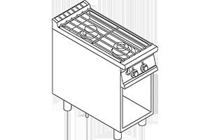 PCA-94G Vodní sporák, 2 hořáky, podestavba bez dvířek