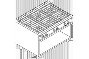 PCA-912G Vodní sporák, 6 hořáků, podestavba bez dvířek